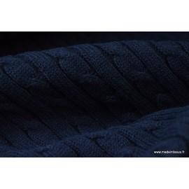 Maille tricoté torsadé MARINE X50CM