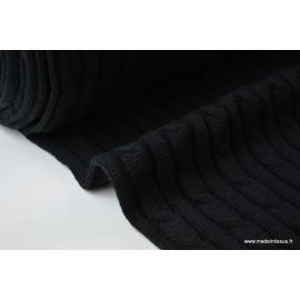 Maille tricoté torsadé Iceland NOIR .x1m
