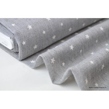 Voile de coton Gris imprimé étoiles x50cm