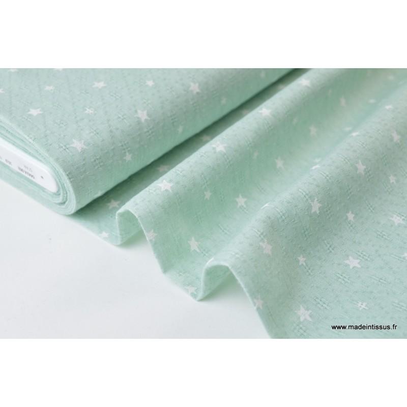 Voile de coton menthe ajouré et imprimé étoiles blanches x50cm 8cbbcb70137
