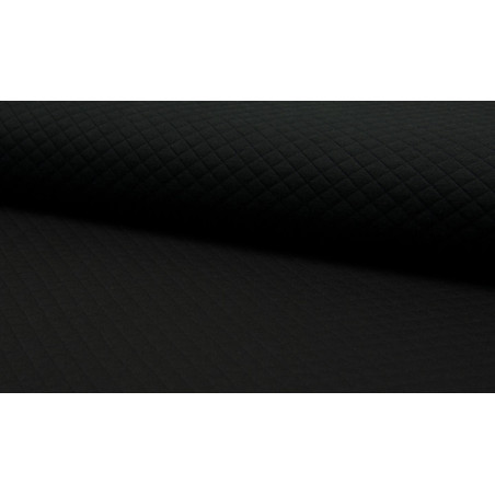 Jersey coton matelassé losange 1x1 noir pour confection habillement .x1m