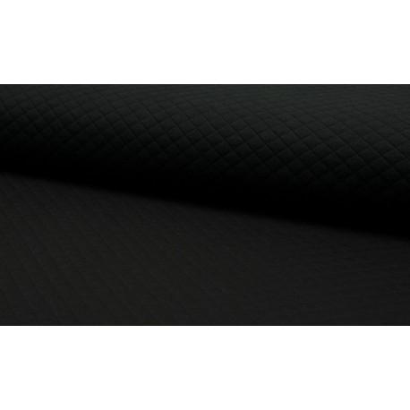 Jersey coton matelassé losange 1x1 noir pour confection habillement x50cm