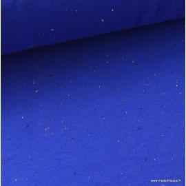Tissu Jersey molleton fantaisie cosy bleu roi  .x1m