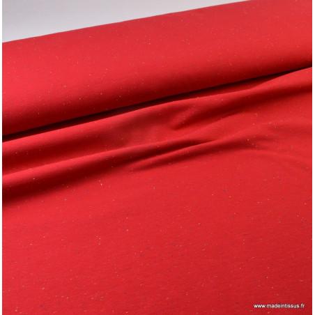 Tissu Jersey molleton fantaisie cosy rouge .x1m