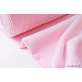 Tissu Sweat envers Minky  rose  .x1m