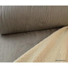 Suedine lourde envers mouton gris x50cm