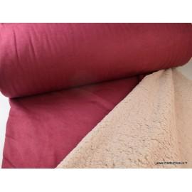 Suedine lourde envers mouton bordeaux x50cm