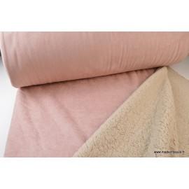 Suedine lourde envers mouton rose x50cm