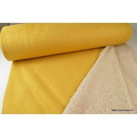 Suedine lourde envers mouton moutarde x50cm