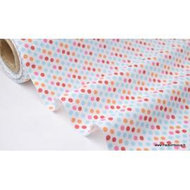 Tissu 100% coton imprimé pois multicouleurs x50cm