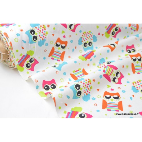 Tissu 100% coton imprimé chouettes multicouleurs x50cm