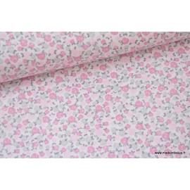 Popeline coton imprimé fleurs roses et grises x50cm