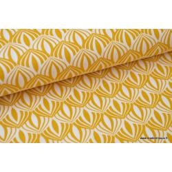 Popeline coton imprimée de fleurs de Lotus Moutarde .x1m