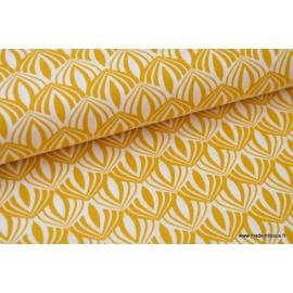 Popeline coton imprimée de fleurs de Lotus Moutarde x50cm