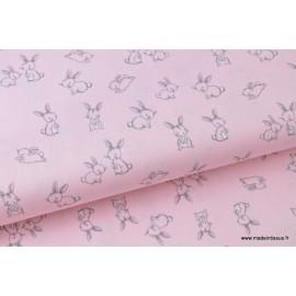 Popeline coton imprimé petits lapins roses x50cm
