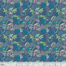 Coton imprimé Jungle petrole by Blend Fabrics x25cm