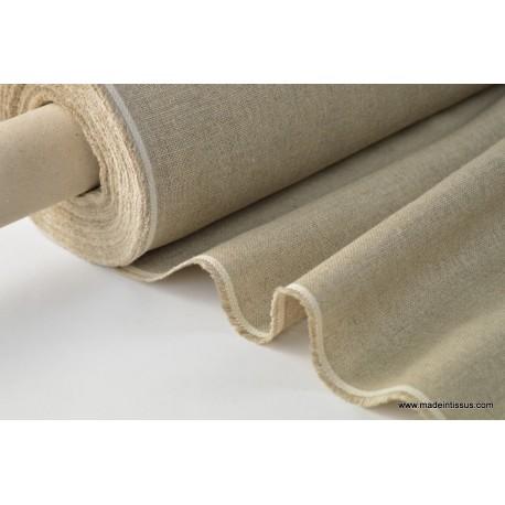 Tissu toile de lin naturel brut par 50cm
