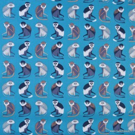 Coton imprimé Singes fond petrole by Blend Fabrics x25cm