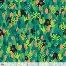 Coton imprimé Gorilles dans la jungle by Blend Fabrics x25cm