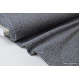 Tissu Jersey coton matelassé losange 1x1 gris anthracite  .x1m