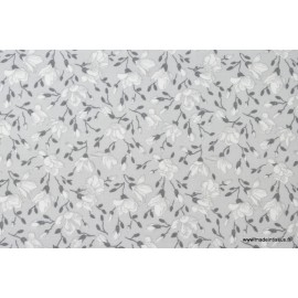 Tissu coton imprimé fleurs de magnolia gris x50cm