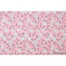 Tissu coton imprimé fleurs de magnolia rose x50cm