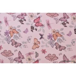 Tissu sergé coton imprimé papillons et libellules rose .x1m