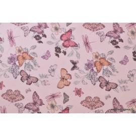 Tissu sergé coton imprimé papillons et libellules rose x50cm