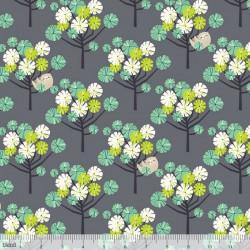 Tissu Coton imprimé cerisiers Japonais et paresseux vert by Blend Fabrics .x1m