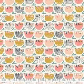 Coton imprimé paresseux roses et moutarde by Blend Fabrics x25cm