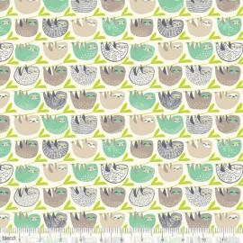 Tissu Coton imprimé paresseux vert et taupe by Blend Fabrics .x1m