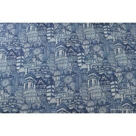 Tissu cretonne coton imprimée monuments historiques bleu x50cm