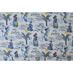 Tissu cretonne coton imprimée Geisha ou Geiko bleu .x1m