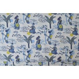 Tissu cretonne coton imprimée Geisha ou Geiko bleu x50cm