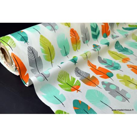 Tissu cretonne coton PLUMES VERT .x1m