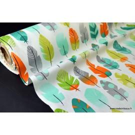 Tissu cretonne coton PLUMES VERT x50cm
