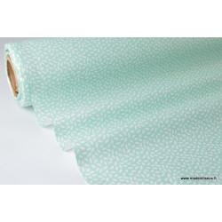 Tissu coton imprimé dessin grains de blé Menthe .x1m