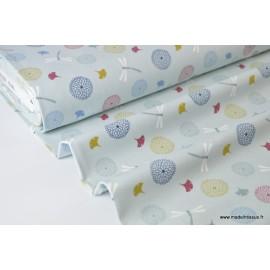 Sweat leger frenchterry imprimé LIBELLULES fond menthe x50cm