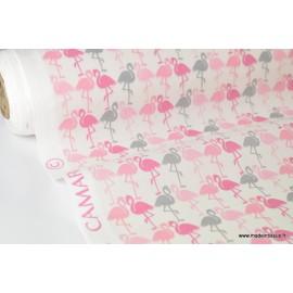 Tissu cretonne coton imprimée Flamants roses et gris x50cm