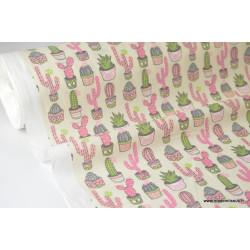 Tissu cretonne coton imprimée CACTUS rose, gris et vert .x1m