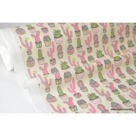 Tissu cretonne coton imprimée CACTUS rose, gris et vert x50cm