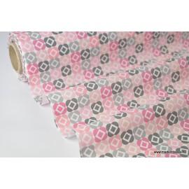 Tissu cretonne coton imprimée BACARA rose et gris x50cm