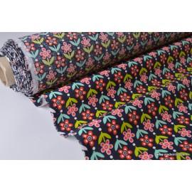Tissu cretonne coton imprimée Fleurs VINTAGE Anthracite x50cm