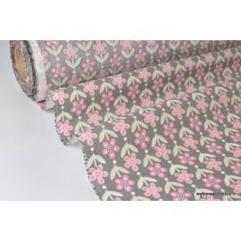 Tissu cretonne coton imprimée Fleurs VINTAGE Rose et gris x50cm