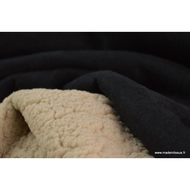Tissu su dine lourde noir envers fausse peau de mouton beige - Fausse peau de mouton ...