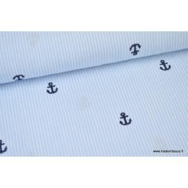 Tissu Seersucker rayé bleu  brodé d'ancres bleu marinex1m