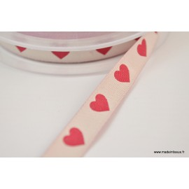 Ruban polyester tissé coeurs rouges sur Ecru 12mm