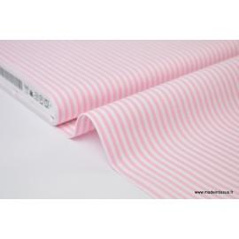 Popeline coton rayures roses et blanches tissé teint .x1m