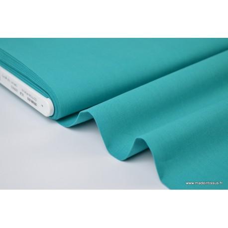 Popeline coton uni vert canard x1m