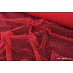 PLUMETIS DENTELLE LAIZE rouge rosé
